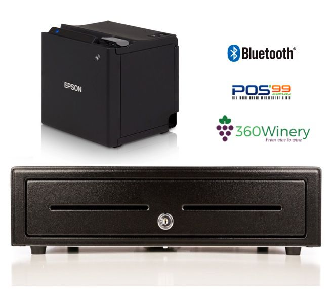 360Winery Bundle No.3 - Epson Bluetooth & Network Printer, Cash Drawer (Optional Paper)