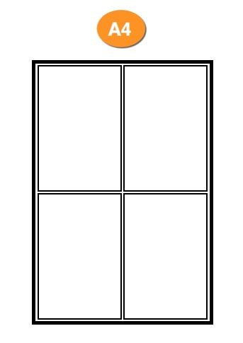 Toll Compatible Blank A4 Label Sheets - 4 Labels per sheet (1,000 sheets)