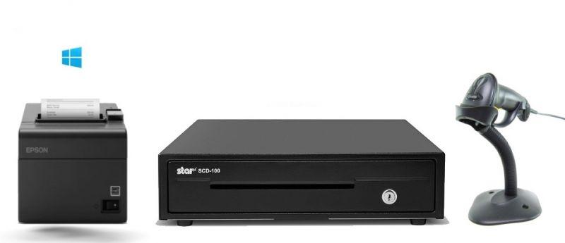 Budget Windows PC POS Bundle - Receipt Printer, Corded Scanner, Cash Drawer (Optional Paper)