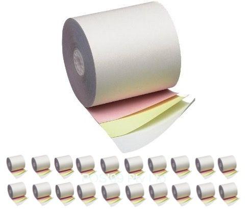 114mm x 80mm Three Ply Carbonless Bond Rolls (Box of 20 rolls)