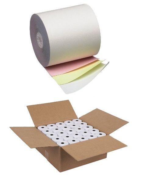 76mm x 76mm Three Ply Carbonless Bond Rolls (Box of 48 rolls)