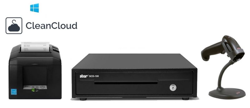 CleanCloud PC / Windows POS Bundle - Receipt Printer, Scanner, Cash Drawer
