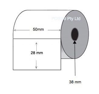 Direct Thermal Labels 50mm x 28mm x 38mm Core (6 rolls of 1,000) Synthetic