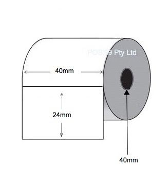 Direct Thermal Labels 40mm x 24mm x 40mm Core (28 Rolls of 1,500) - Permanent