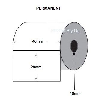 Direct Thermal Labels 40mm x 28mm x 40mm Core (28 Rolls of 1,250) - Permanent