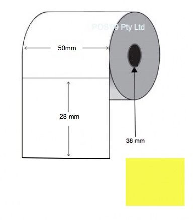 Direct Thermal Labels 50mm x 28mm x 38mm Core (Rolls of 2,000) Yellow
