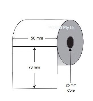 Direct Thermal Labels 50mm x 73mm x 25mm Core (5 Rolls of 750)