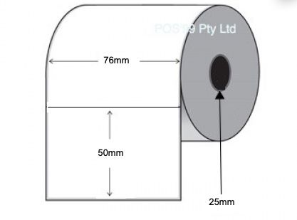 Direct Thermal Labels 76mm x 50mm x 25mm Core Permanent Adhesive (10,000) Permanent Non Perforated