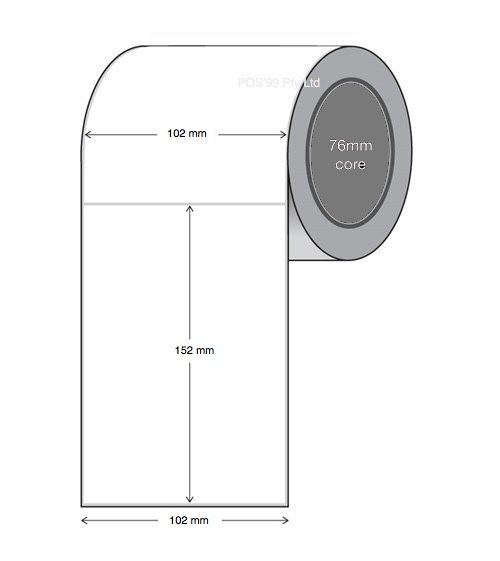 Direct Thermal Labels 102mm x 152mm x 76mm (4 Rolls of 1,000) Core All-Temp Permanent