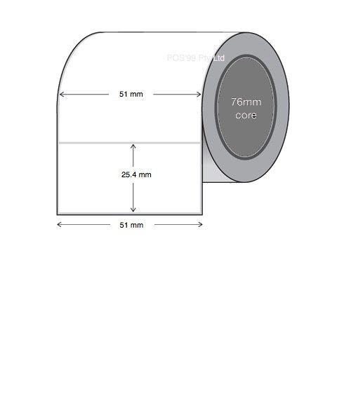 Direct Thermal Labels 51mm x 25.4mm x 76mm Core (8 Rolls of 5,500)
