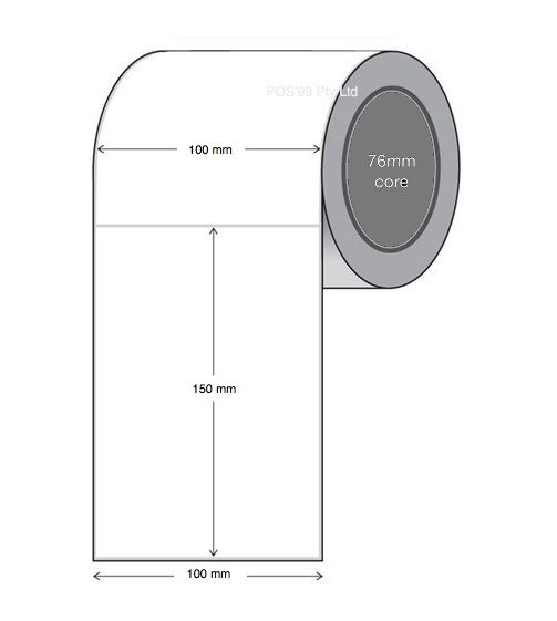 Direct Thermal Labels 100mm x 150mm x 76mm Core (4 Rolls of 1,000)
