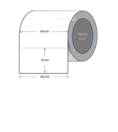 Direct Thermal Labels 102mm x 76mm x 76mm Core (4 Rolls of 2,000)