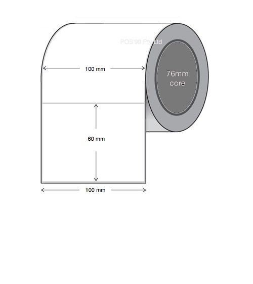 Direct Thermal Labels 100mm x 60mm x 25mm Core (10 Rolls of 1,000)