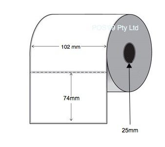 Direct Thermal Labels 102mm x 74mm x 25mm Core (5 Rolls of 750) Perforated