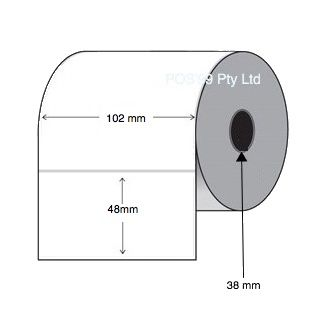 Direct Thermal Labels 102mm x 48mm x 25mm Core (Rolls of 1,500 - Permanent)