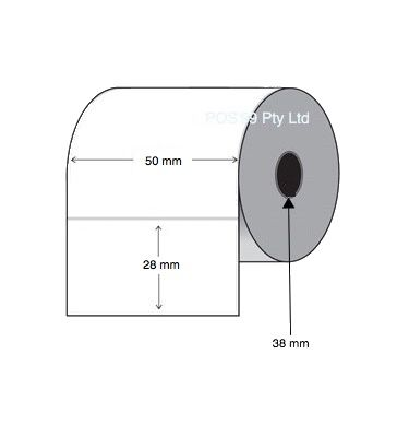 Direct Thermal Labels 50mm x 28mm x 38mm Core (6 rolls of 2,000)