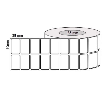 Direct Thermal Labels 50mm x 28mm x 38mm Core - 2 Across (Rolls of 2500 labels) Permanent