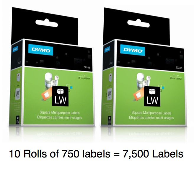 DYMO Label 25mm x 25mm Labels: 10 Rolls of 750 = 7,500 Labels, Removable Adhesive, White