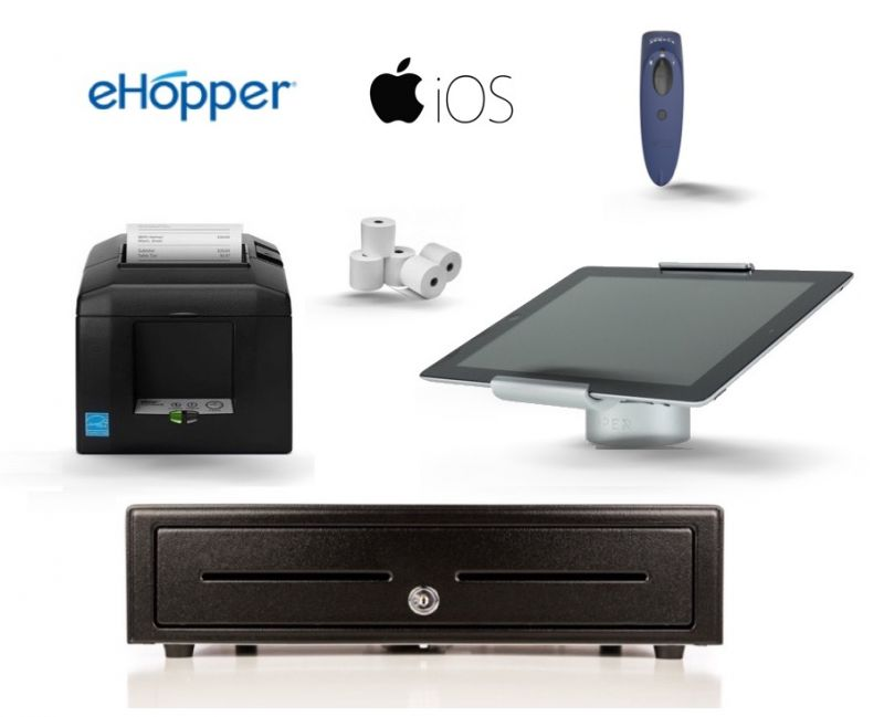 eHopper POS Software & iPad Compatible Bundle - Receipt Printer, iPad Pivot Stand, Cash Drawer, Paper