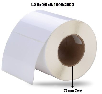 High Gloss Inkjet Paper Labels for Primera LX8x0/9x0/1000/20000 Printer (White, 76mm Core, price per roll) - Select Label Size