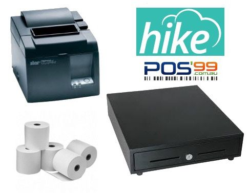 Hike POS Bundle no.1 - Apple iPad STAR TSP143LAN Receipt Printer, Cash Drawer, Paper
