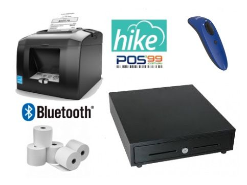 Hike POS Bundle No.4 -  STAR TSP143 Bluetooth Receipt Printer, Cordless Bluetooth Socket Scanner, Cash Drawer, Paper