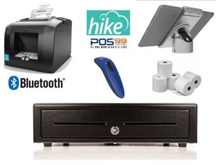 Hike POS Bundle No.6 - STAR TSP143 Bluetooth Receipt Printer, Cordless Bluetooth Socket Scanner, iPad PIvot Stand, Cash Drawer, Paper