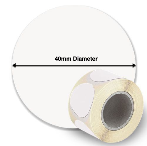 40mm Circle InkJet Label Rolls (Die Cut) - Matt or Gloss, Paper or Synthetic
