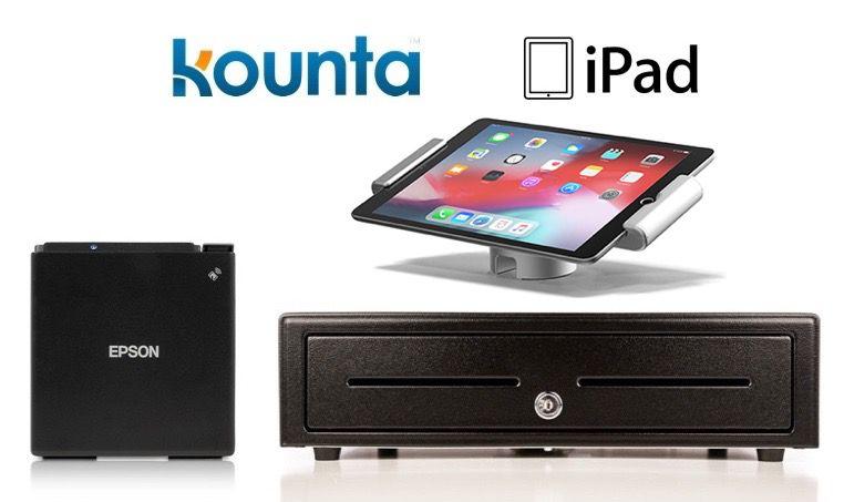 Kounta Bundle No.15 - iPad Only Receipt Printer, Cash Drawer , iPad Pivot Stand (Optional paper)