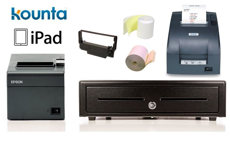 Kounta iPad Compatible Bundle No.6 - Epson TM-T82II-i Intelligent Printer + Kitchen Printer, Cash Drawer, Paper