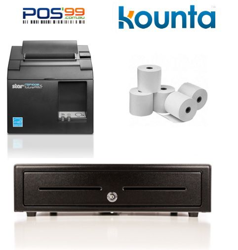 Kounta Bundle No.4 - Star TSP143 (TSP100) LAN Printer + Cash Drawer + Paper (iPad App Compatible)