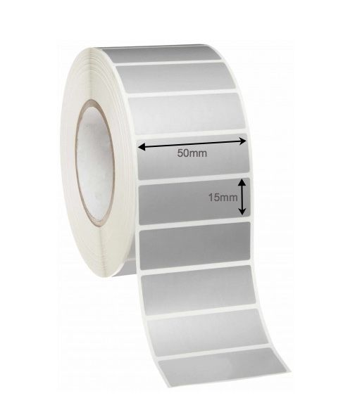 Thermal Transfer Labels 50mm x 15mm x 38mm Core (Rolls of 1,000) - Silver Mylar