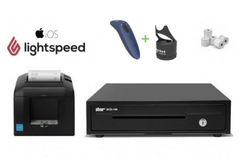 LightSpeed iPad RETAIL Bundle - Receipt Printer, Cash Drawer, Cordless Scanner, Paper, Charging Dock