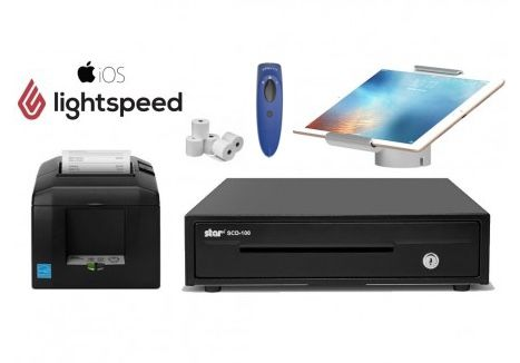 LightSpeed iPad RETAIL Bundle - Receipt Printer, Cordless Scanner, iPad Stand, Cash Drawer, Paper