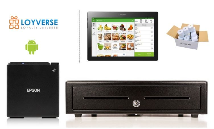 Loyverse POS Android Bundle - Receipt Printer & Cash Drawer (Optional Paper & Android Tablet)
