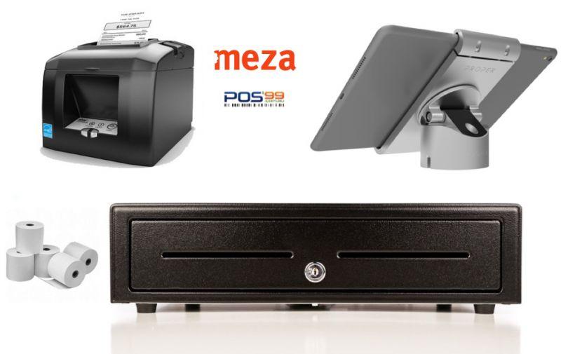 Meza App Bundle No.4 STAR TSP654 Bluetooth Printer, iPad Pivot Stand, Cash Drawer, Paper