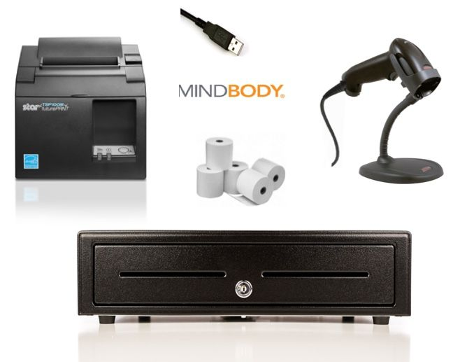 MindBody Apple Mac / Windows PC Bundle no.2 Receipt Printer, Corded USB Scanner, Cash Drawer, Paper