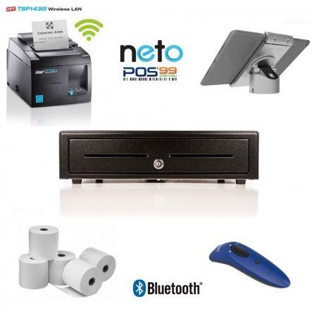 NETO Apple iPad Bundle No.9 STAR TSP143 WLAN Wifi Printer, iPad Pivot Stand, Socket Scanner, Cash Drawer, Paper