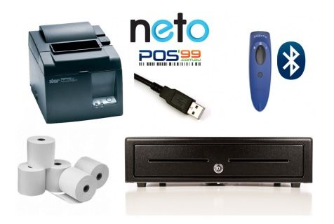 NETO Apple Mac / Windows PC Bundle No.10 USB Receipt Printer, Socket Bluetooth Scanner, Cash Drawer, Paper