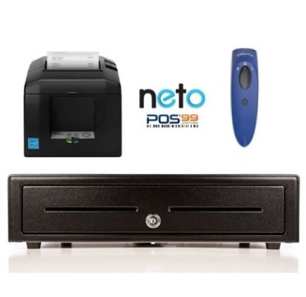NETO Compatible Mac/PC/iPad Bundle no.15 Receipt Printer, Cordless Scanner, Cash Drawer