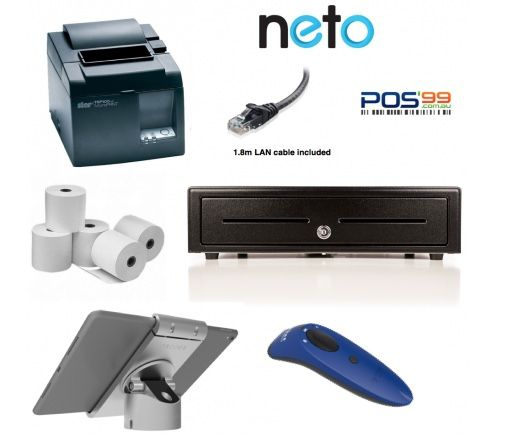 NETO iPad Bundle no.4 Network Receipt Printer, iPad Pivot Stand, Socket Scanner, Cash Drawer, Paper