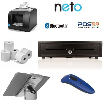 NETO iPad Bundle No.7 Bluetooth Printer, iPad Pivot Stand, Socket Scanner, Cash Drawer, Paper