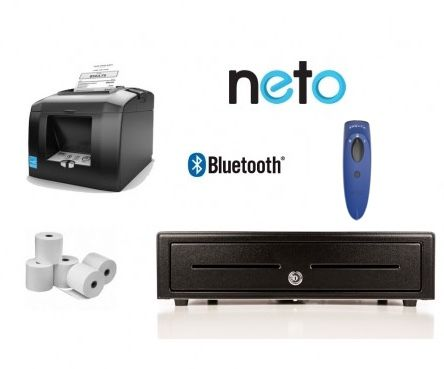 NETO iPad / PC / Mac Bundle No.22 STAR Bluetooth Receipt Printer, Socket Scanner, Cash Drawer, Optional Paper