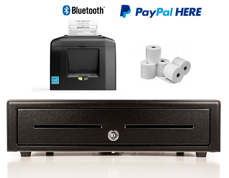 Apple iPad & iPhone Paypal Here Bundle no.2 STAR TSP650-BT (TSP654) Bluetooth Printer, Cash Drawer, Paper