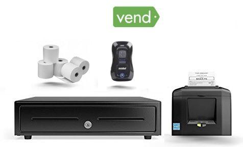 Vend Bundle No.24 Receipt Printer, Motorola Bluetooth Scanner, Cash Drawer (Optional Paper)