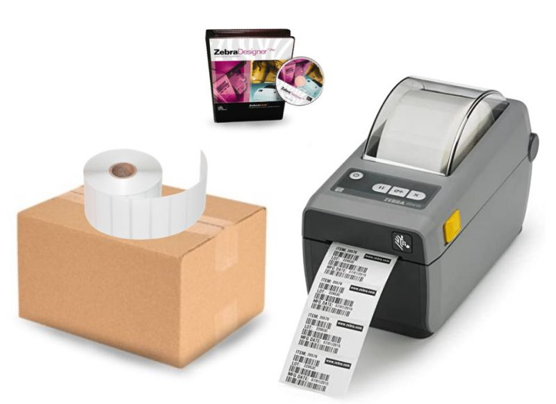 Retail Barcode Label Printer Bundle - Zebra ZD410 Printer, Label Software, Label Rolls