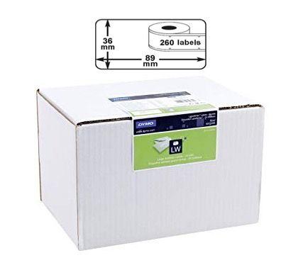 BULK BUY 24 Packs of Dymo Large Shipping / Barcode / Address Labels (24 x Rolls 260LPR, 36mm X 89mm, Permanent, White)