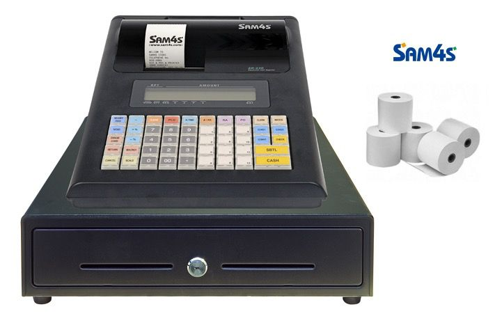 Market/Trade Show Bundle - Portable Sam4S ER230J Cash Register Paper, Optional: Cash Drawer, PSU
