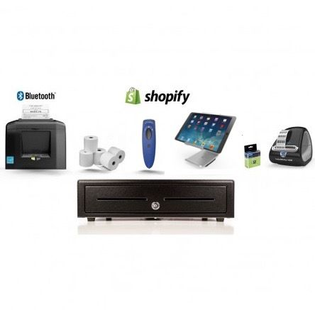Shopify Bundle No.20 - STAR Bluetooth Printer, iPad Stand, Socket Scanner, Cash Drawer, Paper, Label Printer, Labels