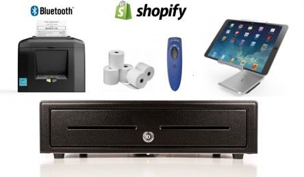 Shopify Bundle No.6 - STAR Bluetooth Printer, iPad Stand, Socket Scanner, Cash Drawer, Optional Paper